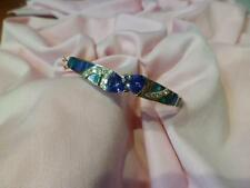 LADIES 14K YELLOW GOLD TANZANITE OPAL DIAMOND BANGLE BRACELET 7""