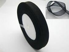 "50 Yards 1/2"" (12mm) Black Wedding Crafts Sheer Organza Ribbon"