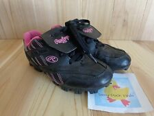 RAWLINGS Baseball Soccer Cleats Shoes Youth Girls Size 1 Black Pink T-Ball