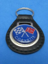 CHEVY CORVETTE FLAGS LEATHER KEYCHAIN KEY CHAIN RING FOB #274 BLUE
