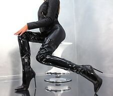 1969 crotch boots 13 cm Sexy schwarz black fetish latex gummi lack high heels 43