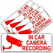5 x In Car Camera Recording Stickers-Standard CCTV Signs-Go Pro,Dashcam,Tinted
