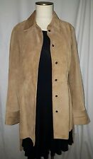 Women's Banana Republic Tan Brown Leather Suede Coat Jacket size Small S