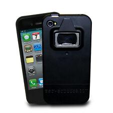 Black Rubberized Non-Slip Grip Protective Bottle Opener Case for iPhone 4S 4