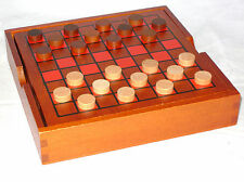 NEW DRAUGHTS CHECKERS GAME WITH WOODEN BOARD AND COMPARTMENT BOX ACK