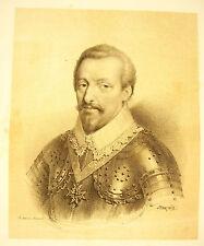 LITHOGRAPHIE de J-B MAUZAISSE François Félix Des Balbes de Berton Duc de Crillon