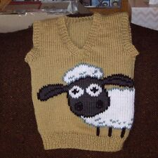 SHAUN SHEEP VEST NEW HAND KNITTED SIZE 6-12 MONTHS