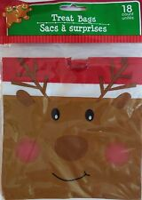 New CHRISTMAS CELLO PARTY GIFT BAGS 18 Count TREAT BAGS with Drawstring~Reindeer