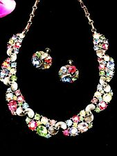 DAZZLING LISNER PASTEL FRUIT SALAD AB RHINESTONE FLORAL NECKLACE EARRINGS SET