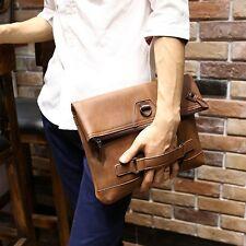 Mens Vintage PU Brown Leather Handbag Messenger Shoulder Business Briefcase Bags