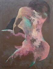 B. Breitwieser huile sur papier collée sur panneau femme silhouette nu signée
