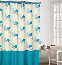Off-White Color Fabric Shower Curtain with Light Blue, Gray and Turquoise Leafs