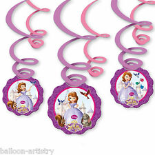 6 Assorted Disney's Sofia The First Princess Party Hanging Swirls Decorations