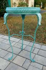 Metal Scroll Side End Accent Table Plant Night Stand Wrought Iron PEACOCK BLUE