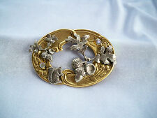 Vintage Squirrel & Acorns Repousse Collage Mixed Metals Brooch