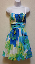 B DARLIN Juniors Strapless Summer Party Prom Dress size 1/2 lined blue/green