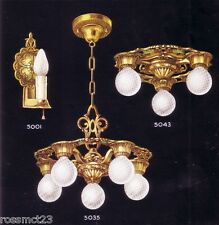Vintage Lighting antique 1930s Virden set   Three ceiling lights   Two Sconces