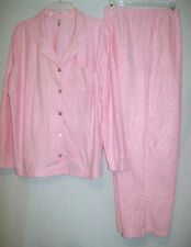2X PLUS PINK K TEXTURED 2 pc. LIGHTWEIGHT FLEECE PAJAMA PJ SLEEPWEAR SET NWT