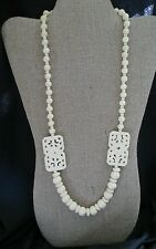 Gorgeous CARVED BOVINE BONE BEAD NECKLACE  ORIENTAL STATIONS FILIGREE INDIAN 28""