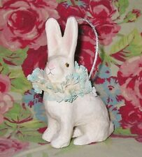 Bethany Lowe Small Fancy Rabbit Bucket Easter White Bunny Paper Mache