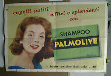 AFFICHE ANCIENNE PUBLICITE SHAMPOO SHAMPOING PALMOLIVE ROME ROMA  ITALIE 1957