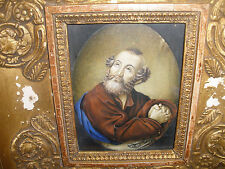 Fine Antique 1800`s  Italian miniature Saint Peter portrait painting signed