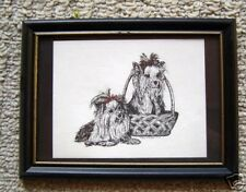 Yorkshire Terrier Small Print on 5x7 Black Mat Ready for Framing New