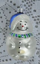 Czech Republic Glass Snowman Christmas Tree Ornament White Blue Cap