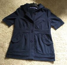 Sport Savvy Navy Blue French Terry Short Sleeve Button Hoodie Top (Size S)
