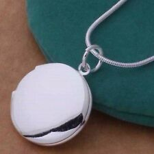 Fashion Women Silver Plated Round LOCKET Photo Charm Pendant Necklace Trendy