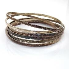 Vintage HEAVY Sterling Silver 7 Day Bangle Set Seven Estate Bracelet  43 grams