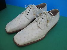 MAURI Men's Cream OSTRICH SHOES SIZE 9M Lace Up VERO CUOIO NEW - Hand Made Italy