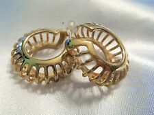 INCREDIBLE Design Vintage Goldtone CAGE Style CLASSIC HOOP Earrings 15E50