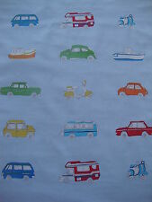 150cm Harlequin Go Go Retro cotton fabric remnant - mini vw beetle camper van
