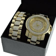 Iced-Out Gold Finish Hip Hop Watch & Bracelet Roman Numerals Combo Set Gift Box