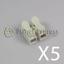 5 x Regleta Clema Ficha con Clip para unir cables hasta 2,5mm Conexion AC DC