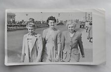 1940s/ 1950s B/W Photograph. Three Women in Smart Clothes on Worthing Seafront