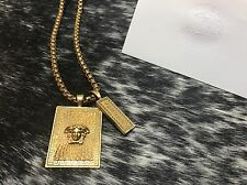 PreOwned Men's Versace Necklace 12in. Small Medusa Head Pendant 2in. Gold Plated