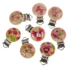 5 Natural Color Round Wood Baby Pacifier Clip Flower&Butterfly Pattern 45x29mm