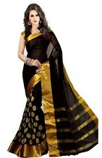 Indian Silk Cotton Saree Bollywood Party Wear Diwali Sari Dress Black Gold M4