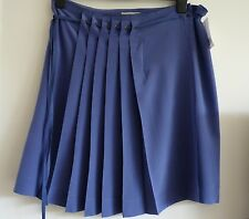 BNWT Gerard Darel Stunning 100% Silk Blue Pleated Skirt, Size 42 (UK 14), New!