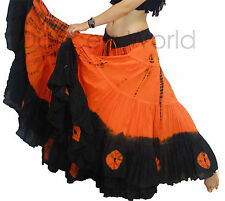 Orange Black Gypsy Tribal 25 yards yard belly dancing cotton Folk skirt L37""