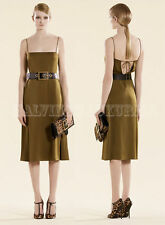 $1,500 GUCCI DRESS OLIVE GREEN SATIN THIN STRAPS BACK OPENING sz IT 46  / US 10