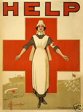 USA Red Cross Nurse 'Help'  First World War Recruiting Poster 11x8 inches Repro