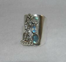 Wide Band Faceted Labradorite Ring 925 Sterling Silver Size 8