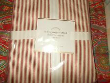 "POTTERY BARN TICKING STRIPE RUFFLED SHOWER CURTAIN, RED, 72"", NEW, last one"