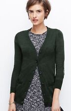 Ann Taylor -  SMALL Green Faux Leather Elbow Patch 100% Merino Wool Cardigan (H)