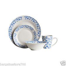 16 Piece Dinner Service Set Plate Bowls Side Plates Blue Rose Flower Design New