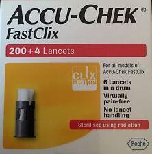 Nuevo En Caja FastClix Lancetas Accu-chek diabética 200+4 - 6 Lancetas por tambor
