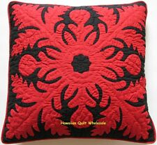 2 Hawaiian quilt handmade cushions hand quilted/applique throw pillow covers 18""